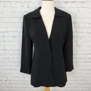 Lord & Taylor Single Button Long Blazer Black 4